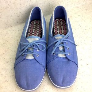 Grasshoppers Chambray Lace Up Flats Sz 12 WIDE